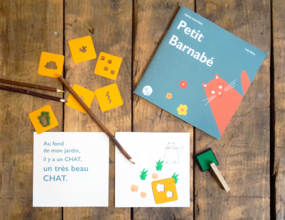 Livre le petit barnabé (N.Clairet) et livre à illustrer, pochoirs et encre les minuscules