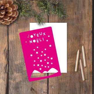 pochoir carte Noël Joyeux Noêl montagne et étoiles