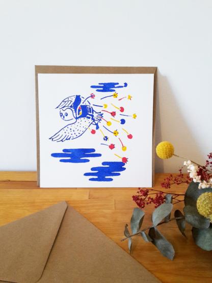 carte de voeux, fleurs, chouette