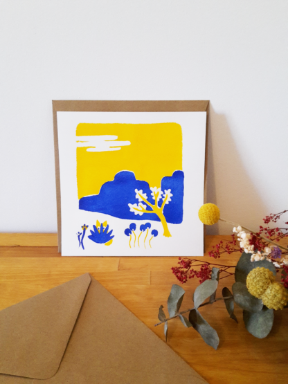 carte de voeux paysage, fleurs