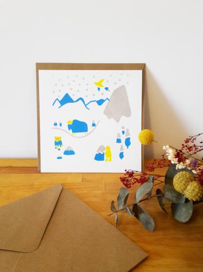 carte de voeux montagne, yack, neige