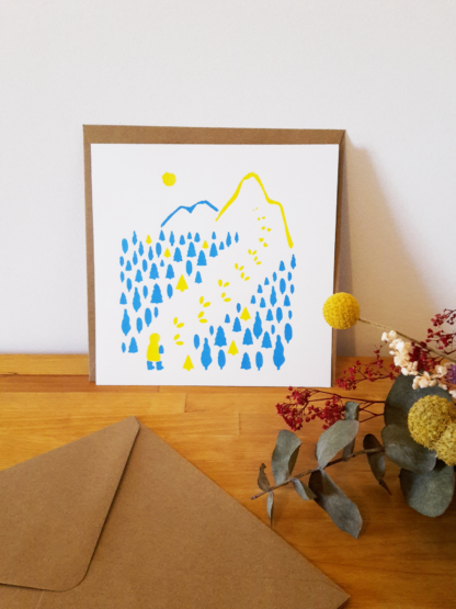Carte de voeux forêt et montagne