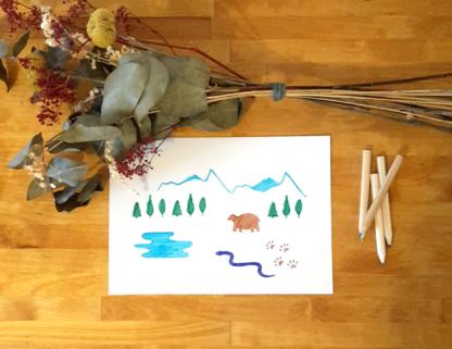 carte montagne serpent, ours, forêt