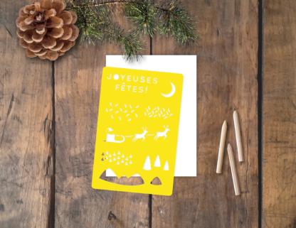 pochoir carte Noël Joyeuses Fêtes