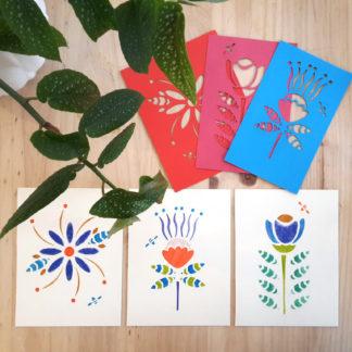 Papeteries créatives - motifs fleurs et pochoirs