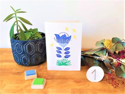carte fleur bleue