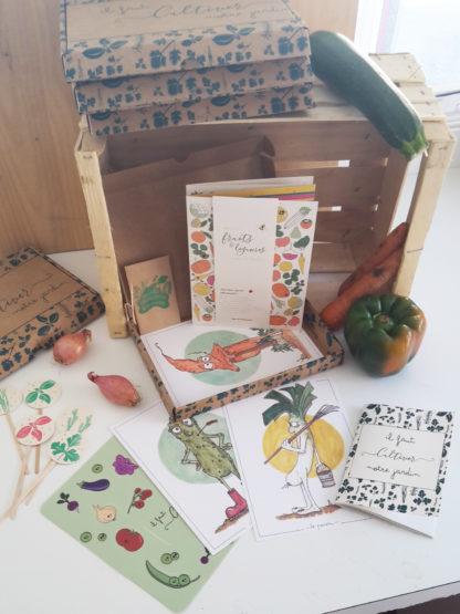 Coffret Il faut cultiver notre jardin calendrier plantation légumes et fruits, cartes, étiquettes ,carnet