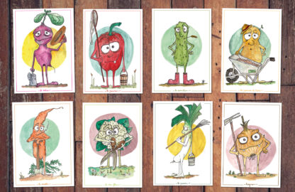 cartes personnages fruits et légumes