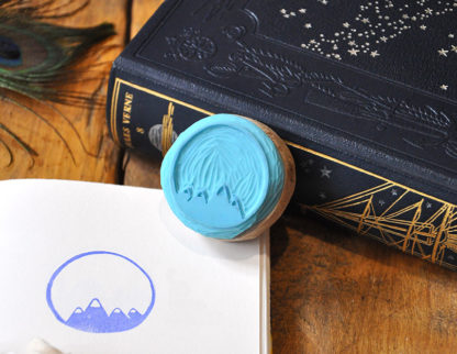 tampon ex-libris montagne pour vos livres, documents