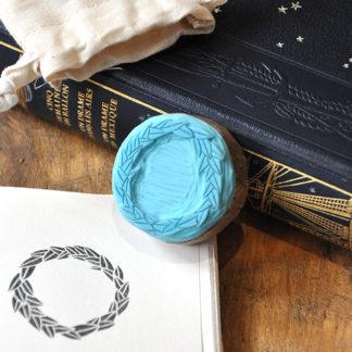 tampon ex-libris couronne feuille pour vos livres, documents