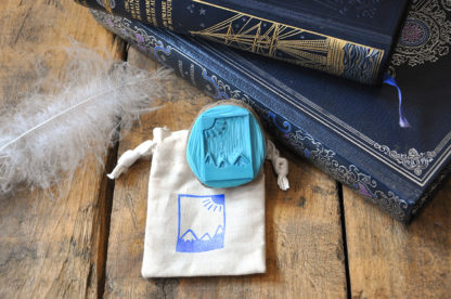 tampon ex-libris montagne et soleil pour vos livres, documents