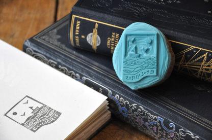 tampon ex-libris mer, bateau, oiseau pour vos livres, documents