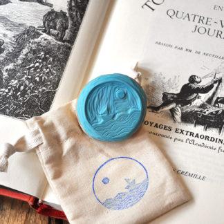 tampon ex-libris mer et bateau pour vos livres, documents