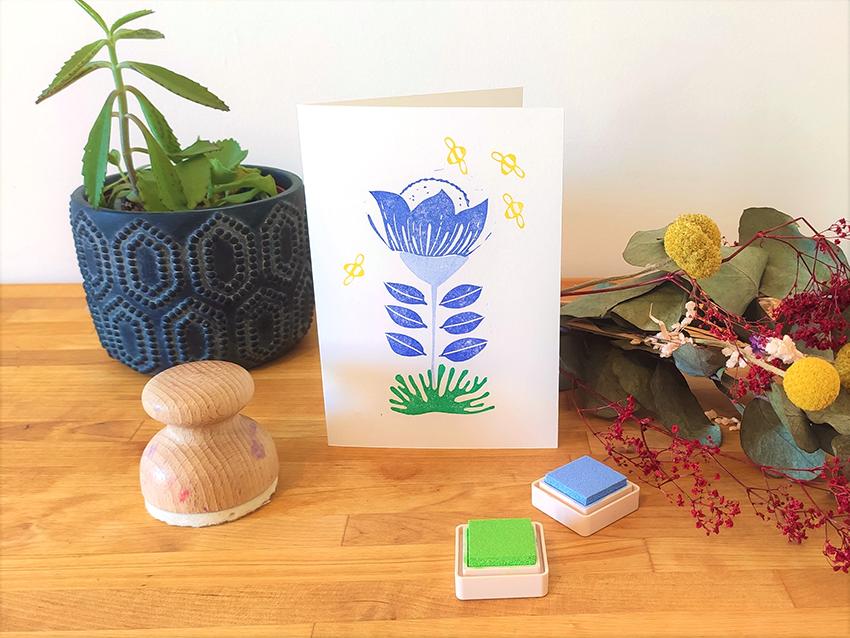 papeterie créative carte fleur bleue