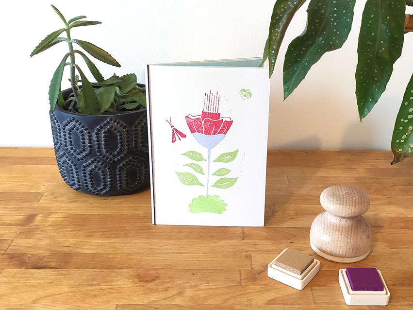 papeterie créative carte fleur rouge