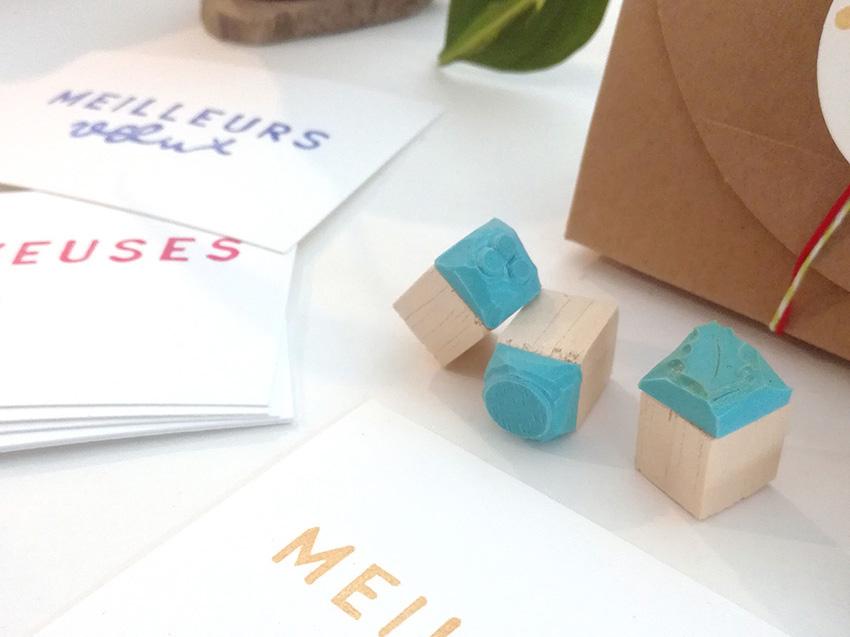 petits tampons pour décoration carte de vœux