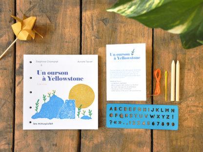 livres de jeunesse à écrire pochoirs - un ourson à Yellowstone - les minuscules