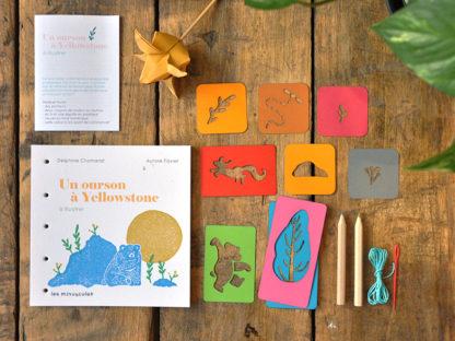 livres de jeunesse à illustrer et pochoirs - un ourson à Yellowstone - les minuscules
