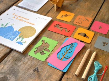 livres de jeunesse à illustrer pochoirs - un ourson à Yellowstone - les minuscules